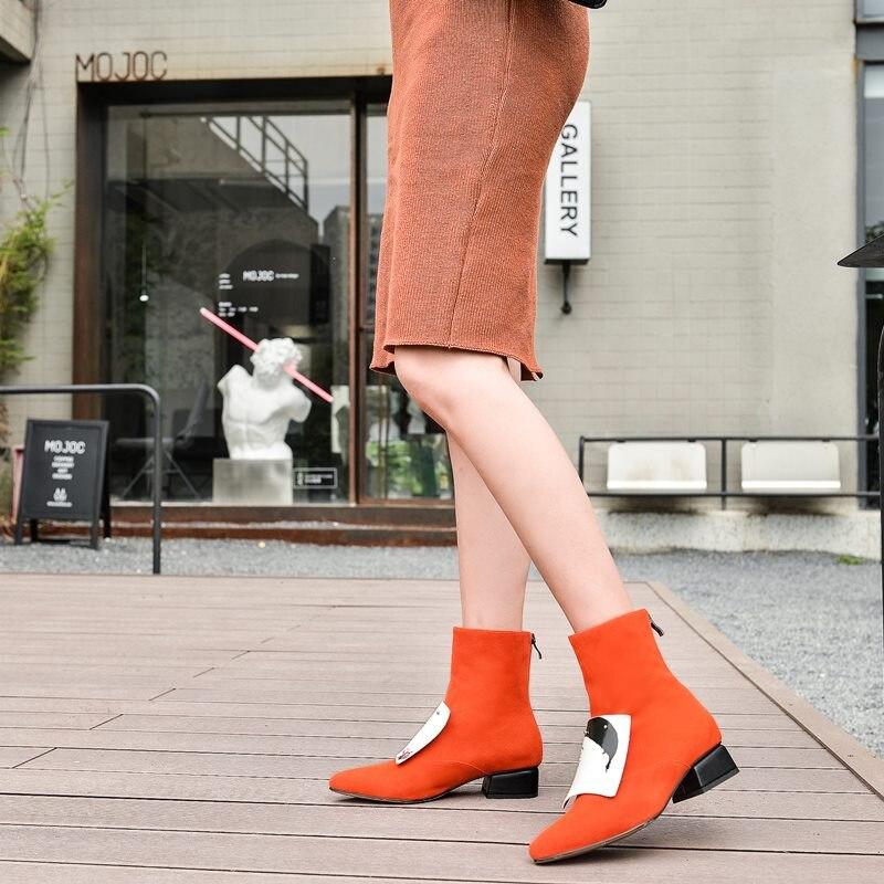 Zvq 여성 신발 겨울 새로운 패션 지적 발가락 정품 가죽 발목 부츠 야외 따뜻한 중반 발 뒤꿈치 플러스 크기 신발 드롭 배송-에서앵클 부츠부터 신발 의  그룹 3