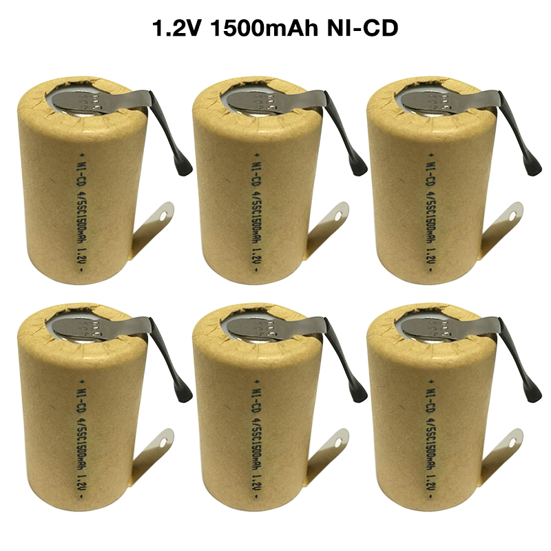 6-15pcs 4/5SC SubC <font><b>1.2V</b></font> <font><b>1500mAh</b></font> SC Ni-CD Rechargeable <font><b>Battery</b></font> Cell with Welding Tabs for Power Tools <font><b>Battery</b></font> Electric Toys image