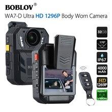 BOBLOV Cámara de policía Ambarella A7, WA7 D, 32GB, batería de 4000mAh, Mini descortezador DVR HD 1296P, Control remoto, Policía