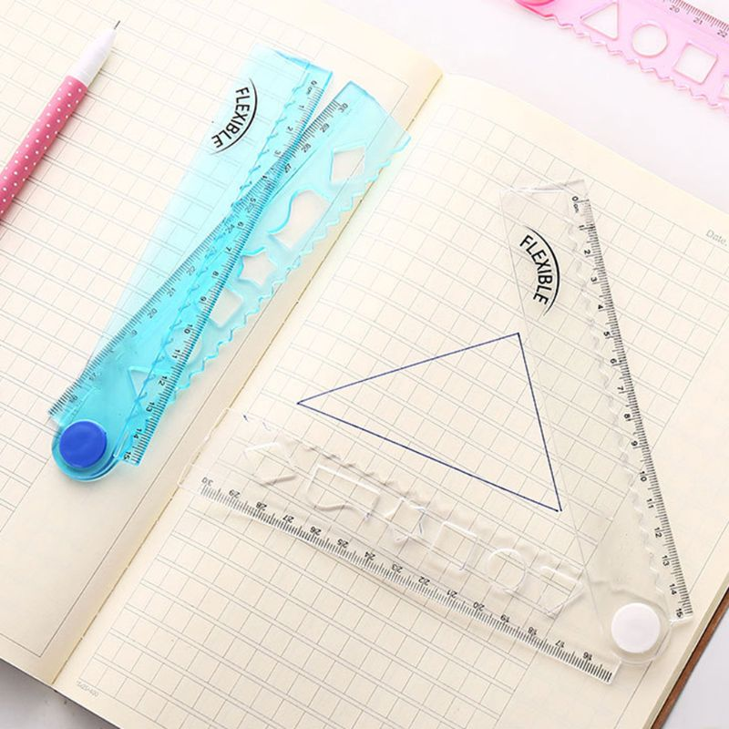 30cm Korean Flexible Folding Ruler Multifunction Plastic Drawing Rulers Office School Stationery Students Kids Gifts W91A