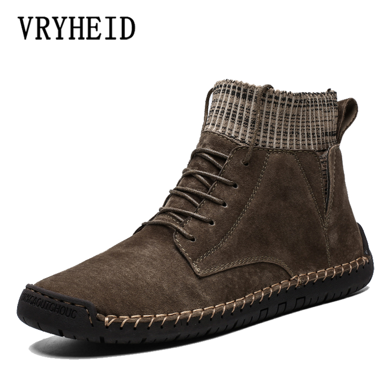 VRYHEID Autumn Winter Casual Shoes Men Genuine Leather Handmade Vintage High Tops Male Boots Warm Sneakers Hombres Plus Sizes 48
