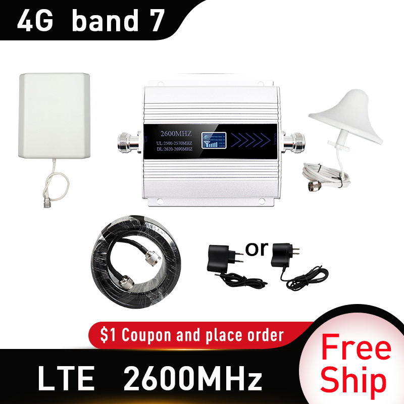 4G 2600mhz LTE DCS Moblie Phone Booster 4G CDMA Signal Repeater Gain 65dB 4G Network Cellular Amplifier 5dbi Omni Indoor Antenna