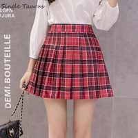 Minifalda plisada de estilo informal de Color liso con estampado A cuadros de estilo informal para Mujer de Faldas de cintura alta línea A