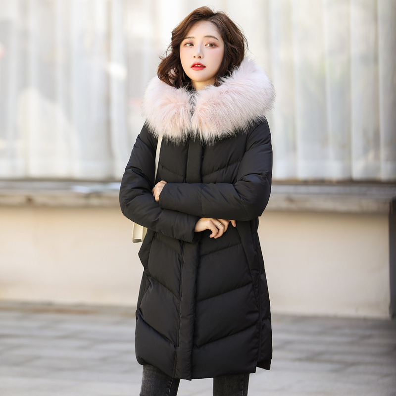 Winter Down Jacket Women Long Down Coat Female Large Fur Hooded Fashion Clothes Ultra Light Duck Down Jacket Hiver 190159