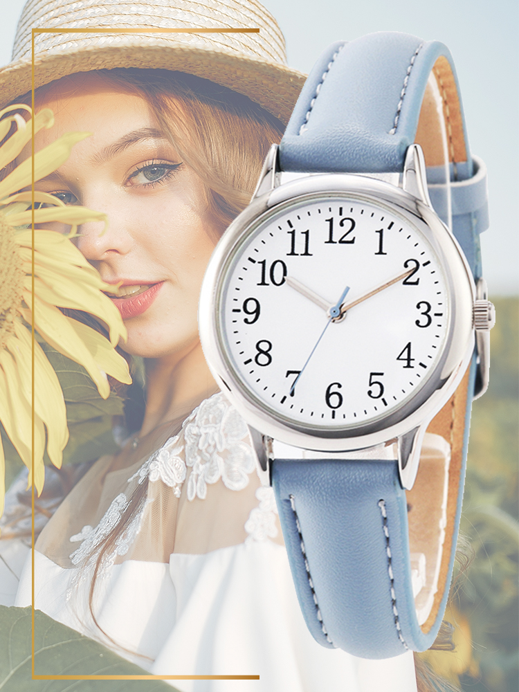 Women Watch Straps Leather-Band Arabic Numbers Dial Easy-Reading Candy-Color Elegant-Style