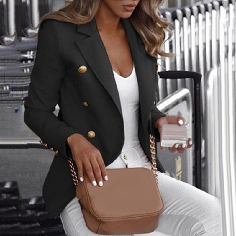 Ladies Fashion Solid Color Double-Breast Lapel Long Sleeve Outerwear Women's Casual Coats Suit Big Promotion