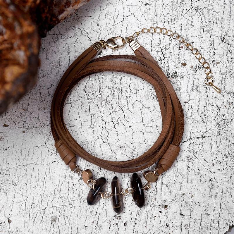 Fever&Free New Bohemia Ethnic Suede Bracelets Handmade Vintage Multilayer Wrap Bracelets Women Stone Bangles Fashion Accessories