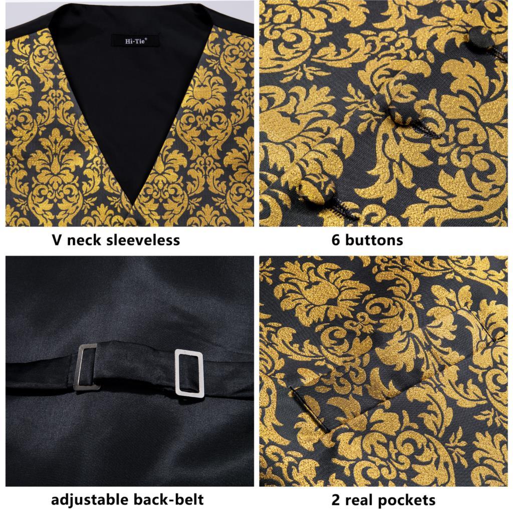 Hi-Tie men's Wedding Waistcoats Vest silk 4PC Hanky+cufflinks +Tie Classic Paisley Red Blue Golden Pink Waistcoat suit vest set