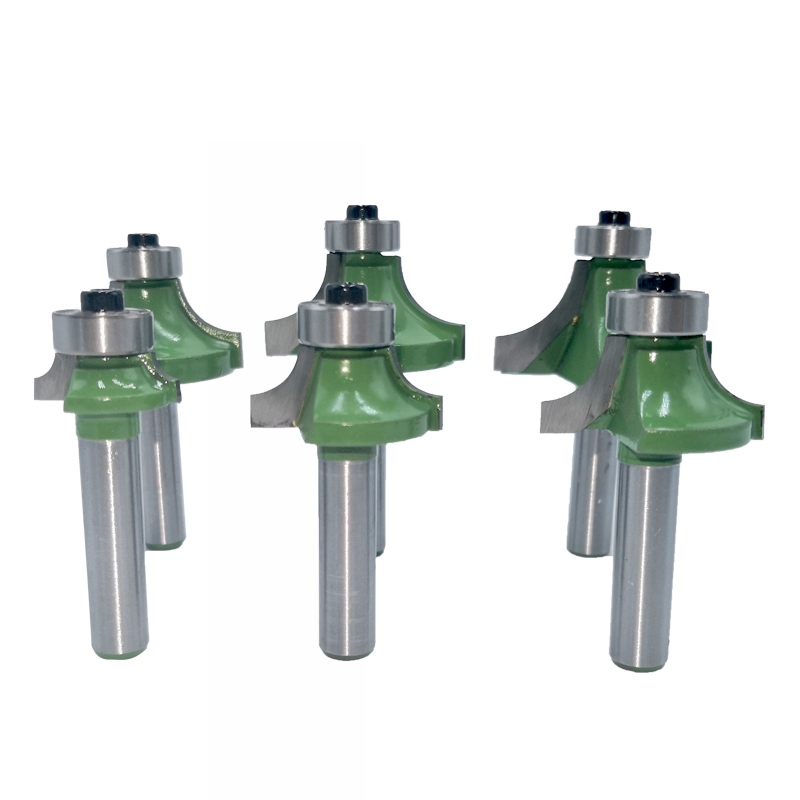 6Pcs 8Mm Corner Round Over Router Bit With Bearing Milling Cutter For Wood Woodworking Tool