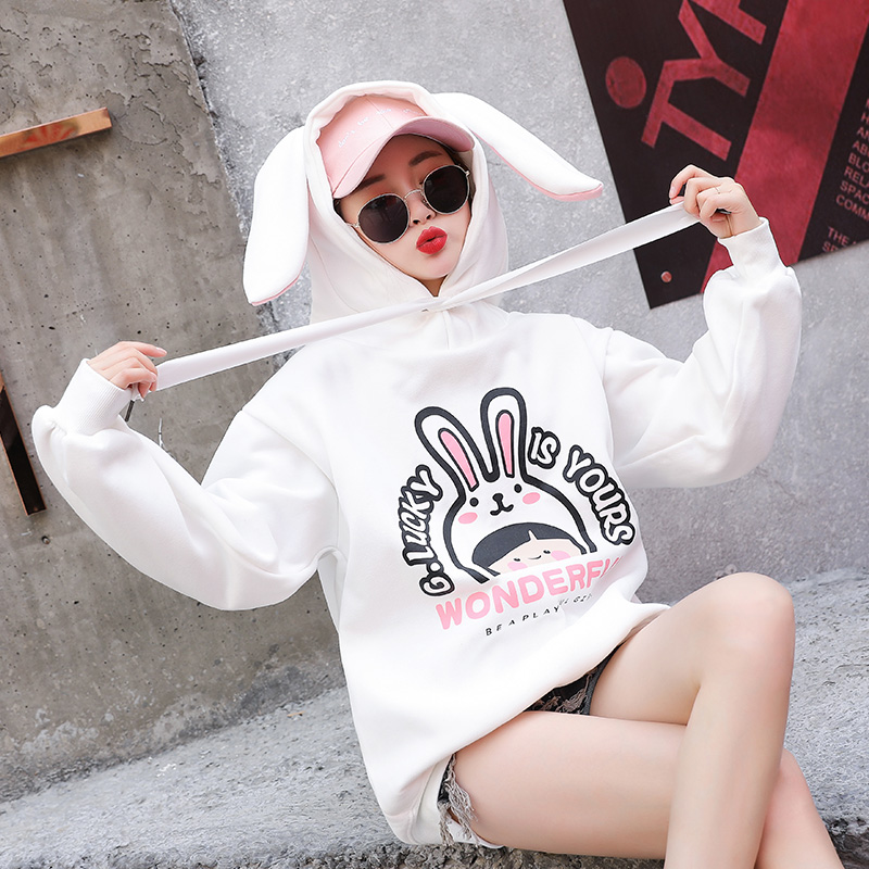 Milinsus Women Cute Rabbit Ears Hooded Sweatshirt Cartoon Pattern Pullover 2019 Autumn and Winter Femme Hoodies