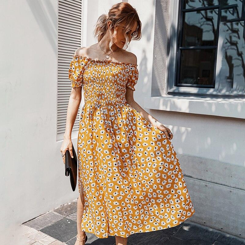 Bohemian Flower Print Short Sleeve Women Long Dress Summer High Waist Sexy Slash Neck Holiday Casual Ladies Beach Dress
