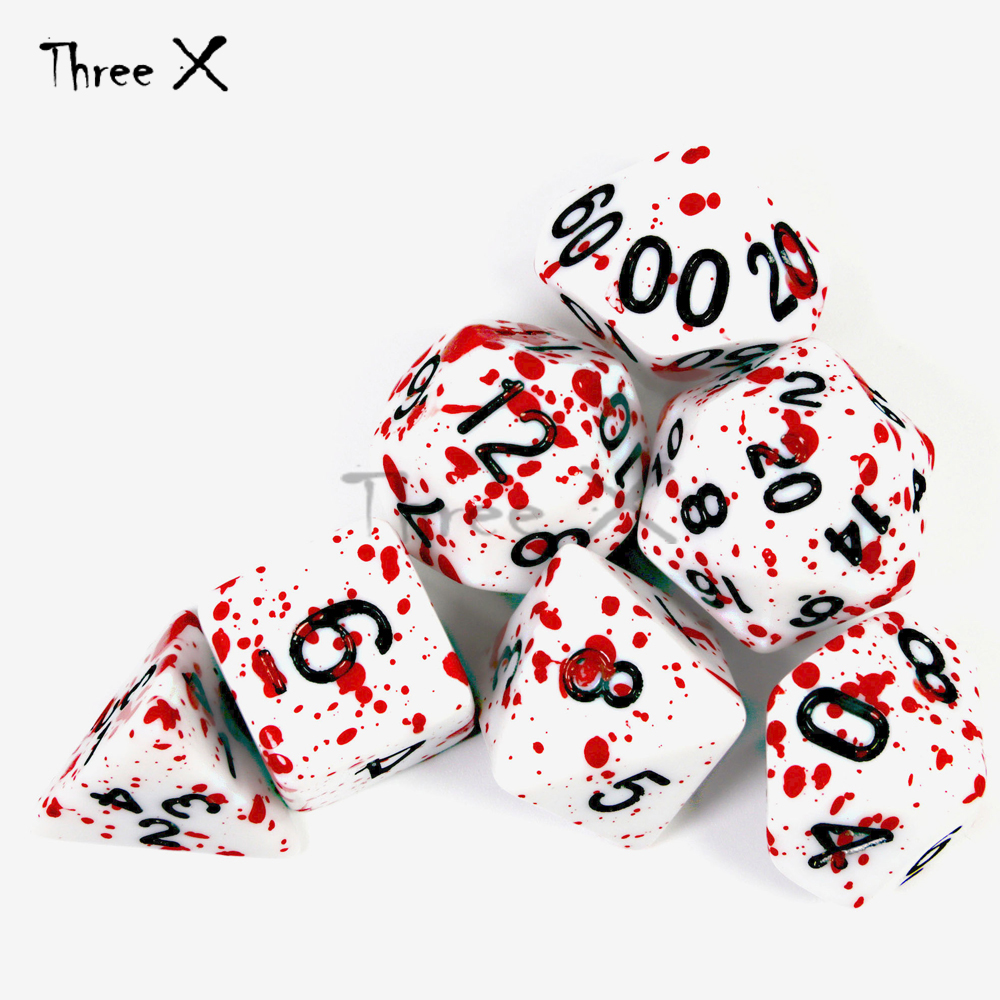 7Pcs/Set Polyhedral TRPG Games For Dungeons Dragons Opaque D4-D20 Multi Sides Dice Pop For BoardGame Party Game