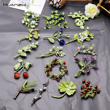 Huanzhi Vintage Emaille Groen Kleur Plant Parels Pin Boom Lotusblad Blueberry Cherry Bloem Bamboe Broche Voor Vrouwen Sieraden Gift(China)