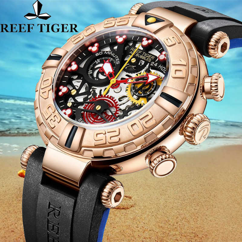 Reef Tiger Luxury Sport Waterproof Men Chronograph Top Brand Quartz Rubber Strap Rose Gold Case Men's Watch Date Reloj Hombre