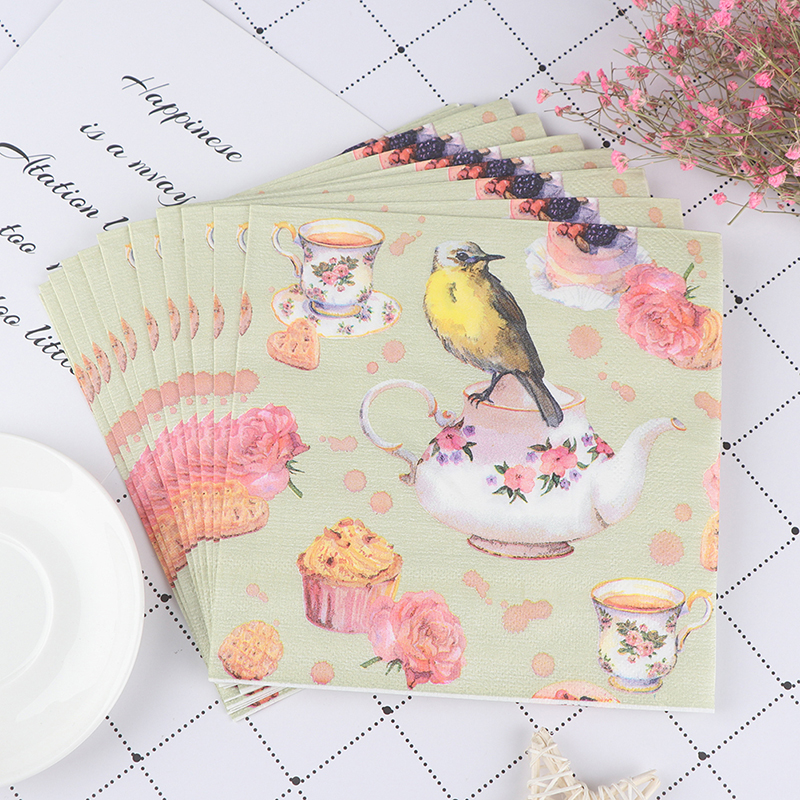 20pcs Flower and Bird Decoupage Napkin Paper Tissue for Xmas Wedding Decor