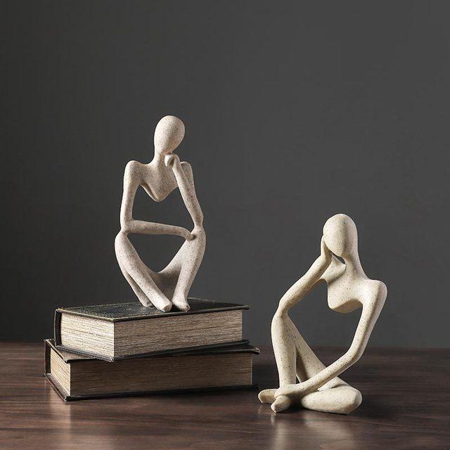 VILEAD Nordic Abasract Thinker Statue Resin Figurine Office Home  Decoration Desktop Decor Handmade Crafts Sculpture Modern Art 2