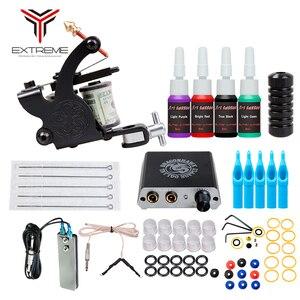 Starter Tattoo Machine Kit Set 8 Coils Guns 4 Colors Black Pigment Sets Power Tattoo Beginner Grips Kits Permanent Make up(China)