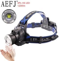 AEFJ 1200LM LED XPL-V6/L2/T6 10W Headlamp IR Sensor Headlight Induction Zoomable 3-Mode Head Flashlight Torch Lamp Light