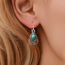 Hello Miss Simple fashion ear jewelry Bohemian Fengya court retro hollow carved pendant hook earrings womens gift
