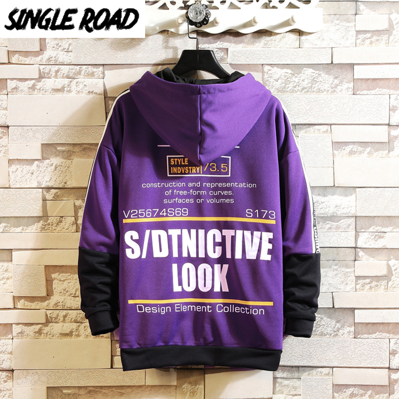 SingleRoad Men's Hoodies Men 2020 Spring Letter Printed Japanese Streetwear Harajuku Hip Hop Sweatshirt Male Purple Hoodie Men