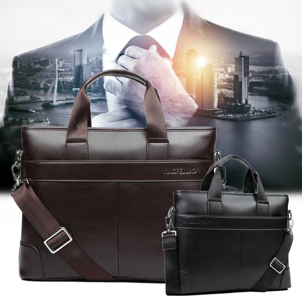 PU Leather Men Briefcase Casual Business Man Shoulder Crossbody Bags Large Capacity Travel Messenger Bags New