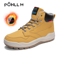 PUHLLM Winter Men's Vulcanized Shoes Flats Sneakers Boots Snow Shoes Warm Short Plush Lining Black Shoes Men Sport Foot G29
