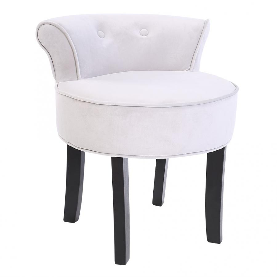 56*47.5*13.5cm Gray Chenille Vanity Stool With Black Legs Bedroom Dressing Chair