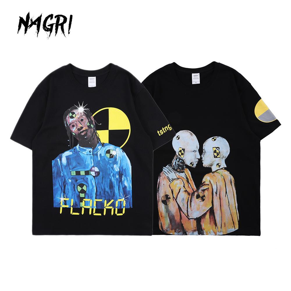 NAGRI ASAP Testing Letter Printing T-Shirt Graphic Hip Hop Short Sleeve Injured Generation Tour Tee 2020 Europe And America
