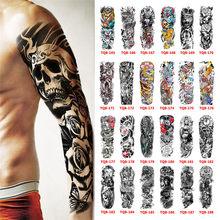 Autocollant de tatouage temporaire imperméable motif totem géométrique, bras complet limité à la manche, grande taille, faux tatouage flash pour hommes et femmes