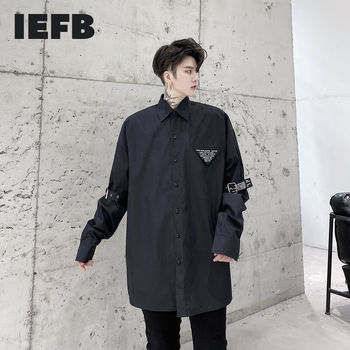 IEFB /men's wear 2021 Spring new shirt letter pattern long sleeve ribbon decoration loose large size black white tops mael Y3434 image