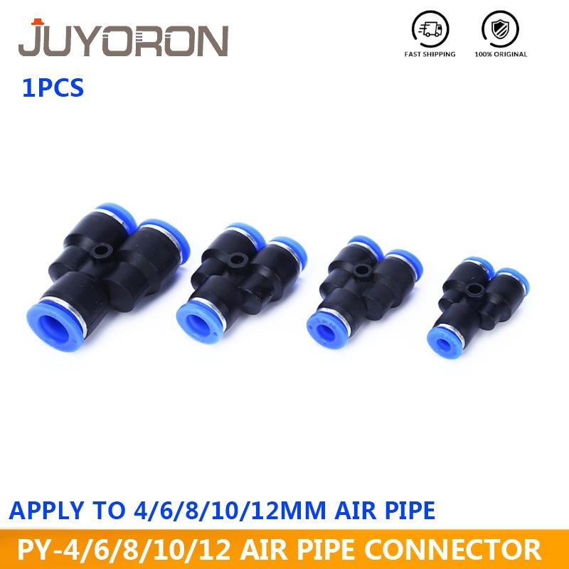 5 adet PY serisi 4 6 8 10 12 14mm OD hortum 3 yönlü bağlantı noktası Y şekli hava pnömatik hızlı hava pnömatik konnektörler bağlantı pirinç uydurma