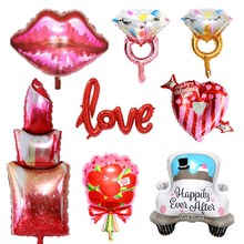 Düğün doğum günü partisi yıldönümü dekorasyon kız ruj elmas yüzük dudaklar öpücük alüminyum folyo balon aşk kalp gül topu