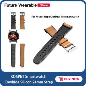 Оригинальные Смарт-часы KOSPET, ремешок из воловьей кожи 24 мм для Kospet Hope/Optimus Pro, ремешок для умных часов, сменный ремешок