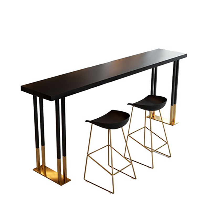Nordic Light Luxury Iron Art Solid Wood Bar Table And Chair Domestic Milk Tea Shop Wall Bar Table High Foot Table And Chair Comb