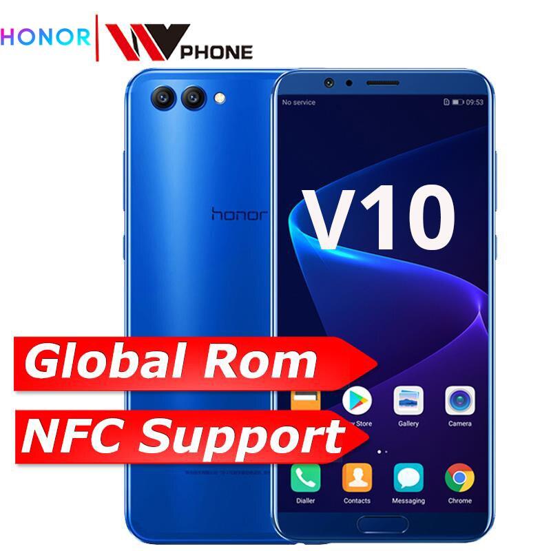Honor v 10 4G 64G vista 10 Originais Do Telefone Móvel Núcleo octa 5.99 polegada view10 Dual Câmera Traseira de Impressão Digital ID NFC honor v 10