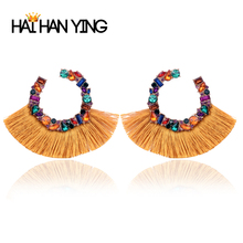 New fashion women tassel color hanging earrings Gold star designer for luxury jewelry 2019 crystal  boho