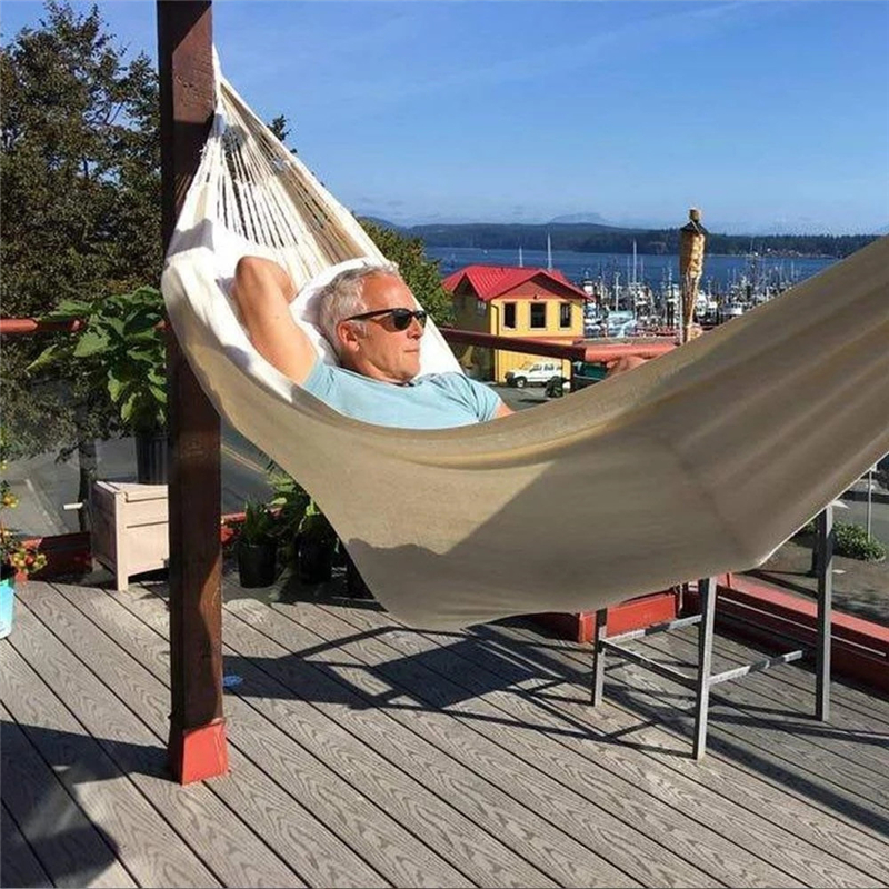 2 Person Hammock Outdoor Beach Canvas Double Deluxe Hammock Swing Net Chair Out/Indoor Balcony Lazy Swings Hanging Chair Decor