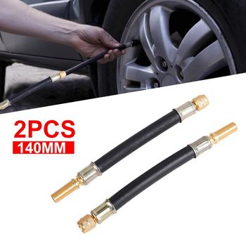 2Pcs Flexible Rubber Air Tyre Valve Extension Adaptor Motorcycle Car Tire Stem Extender Professional Tire Inflation Tools image