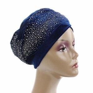 Image 2 - ผู้หญิงยาวพิเศษVelvet Turban Headbandแฟชั่นหรูหราRhinestone Head Wraps Hijabผ้าพันคอมุสลิมสไตล์ผมอุปกรณ์เสริม