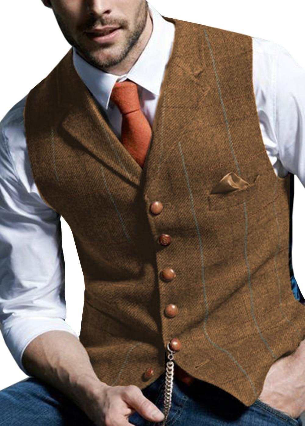 Mens Waistcoat Vest Casual Plaid Wool V Neck Peaked Lapel Slim Fit For Wedding Groomsmen Herringbone Vintage Vest Men Brown