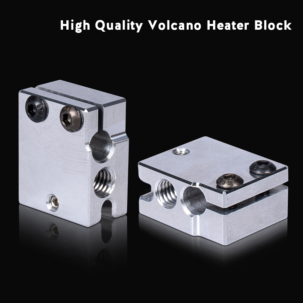 High Quality Volcano Heater Block Aluminum For E3D Volcano Hotend Suit PT100 Sensor Thermistor Cartrodge 3D Printer Parts