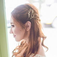2pcs/pack Flower Branch Metal Hair Clip Gold Silver Tiara Hairpins Women Styling