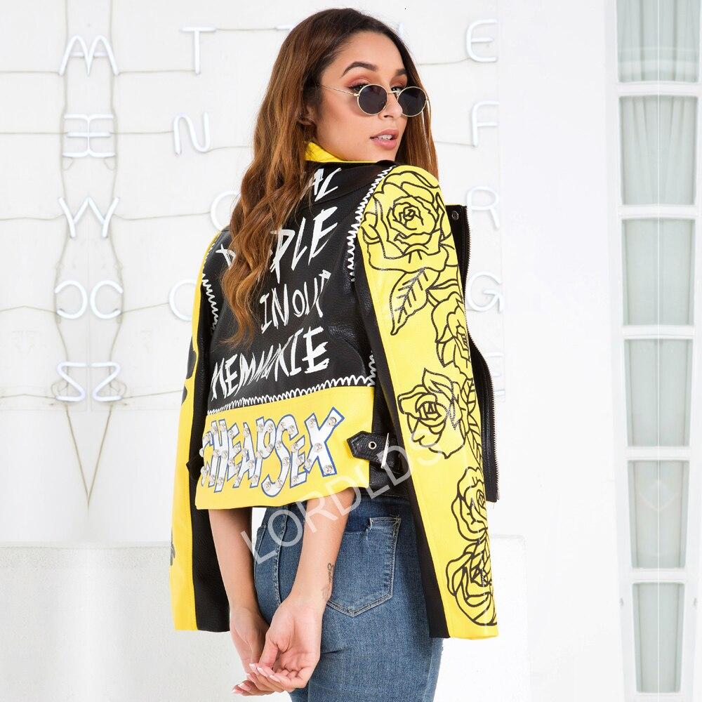 Amarelo do Punk Jaqueta de Couro para Mulheres Cabolsa do Plutônio Graffiti Falso Outono Feminino Fino Curto Zíper Rebite Colheita Motocicleta Motociclista Jaquetas