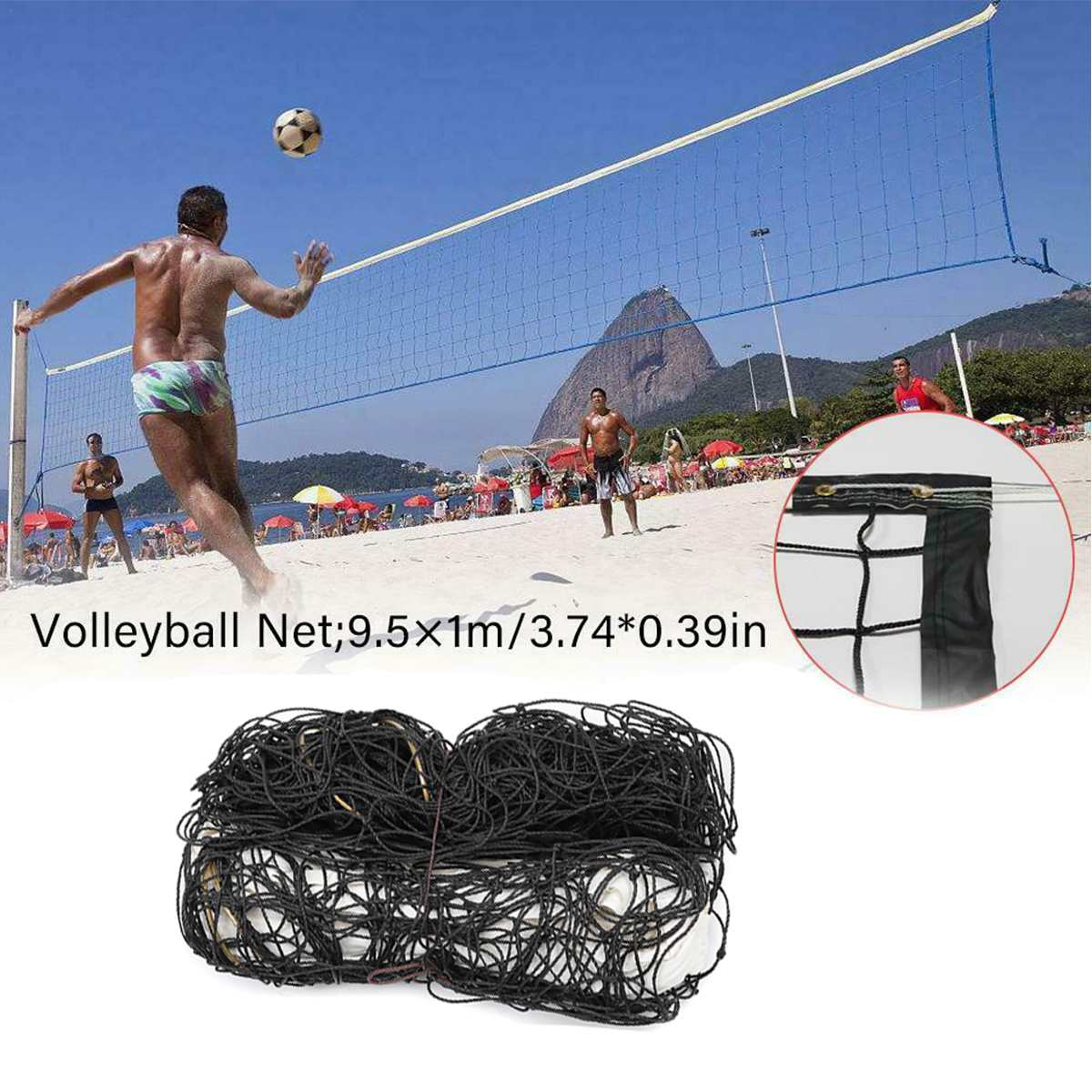 9.5×1m Professional Sport Training Standard Badminton Net Standard Volleyball Net Durable Polyethylene Sport Training Goods