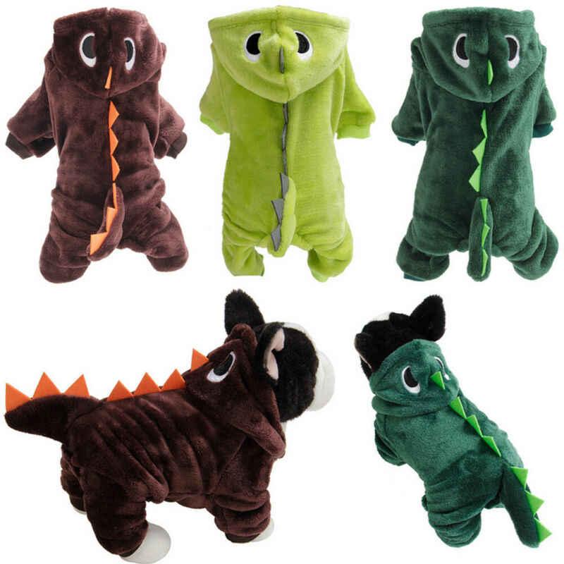 ملابس كلاب أليفة لطيفة على شكل ديناصور مصنوعة من الصوف وأربعة أرجل مع قلنسوة للكلاب الصغيرة معاطف على شكل جرو وجاكيتات بدلة شتوية