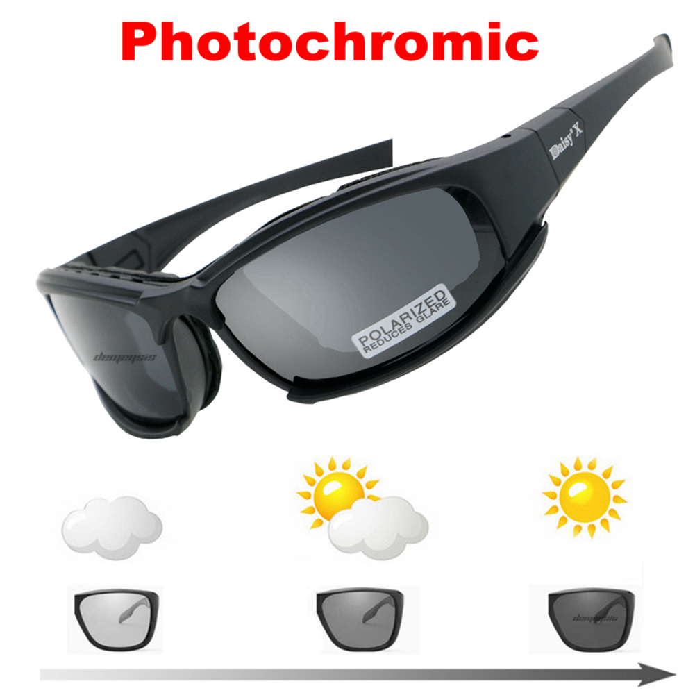 Daisy Photochromic Polarized Glasses Army Transition Sunglasses Military Goggles 4 Lens Kit War Game Tactical Men's Glasses