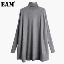[EAM] Oversized Knitting Sweater Loose Fit  Turtleneck Long Sleeve Women Pullovers New Fashion Tide Spring Autumn 2020 19A-a43