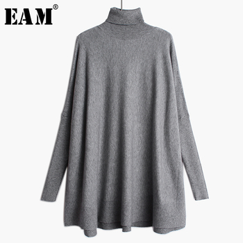 [EAM] Oversized Knitting Sweater Loose Fit  Turtleneck Long Sleeve Women Pullovers New Fashion Tide Spring Autumn 2020 19A-a43 [eam] pelated split big size knitting sweater loose fit turtleneck long sleeve women pullovers new fashion spring 2020 1m877