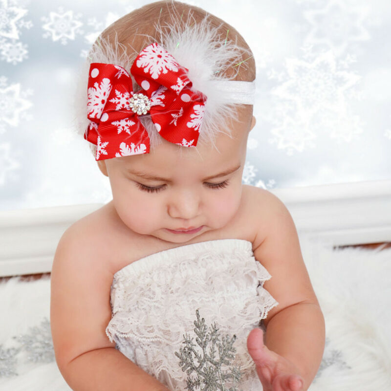 Newborn Baby Girl Christmas Bow Feather Hair Band Snow Flowers Headband Christmas Party Deals Xmas Hair Band Clasp Headwear image