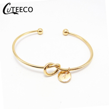 CUTEECO Hot Sale New Fashion Rose Gold/Silver Alloy Letter Bracelet Bow-knot Charm Female Cuff Bangles Personality